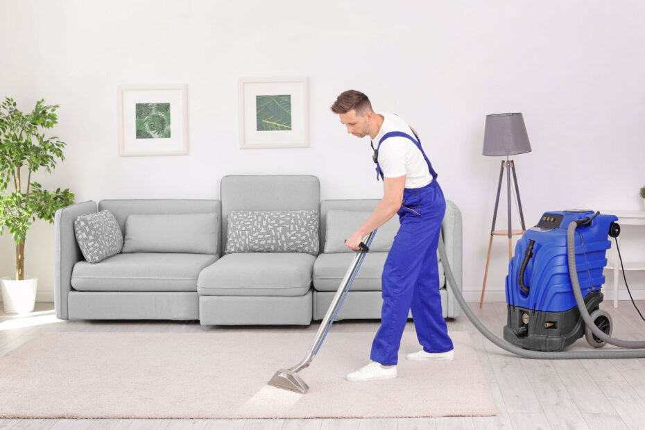 Steam cleaning in living room